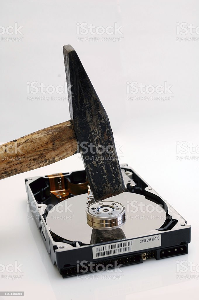 Hard disk and a hammer royalty-free stock photo
