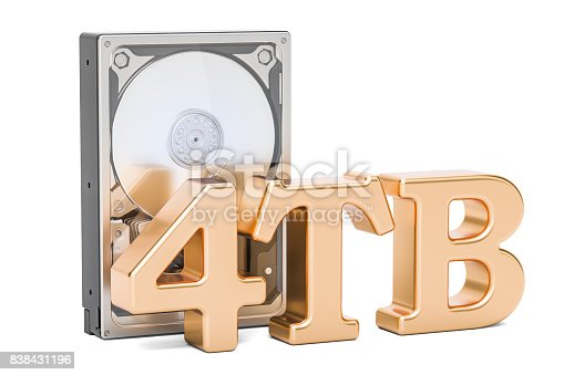 istock Hard Disk Drive (HDD), 4 TB. 3D rendering isolated on white background 838431196