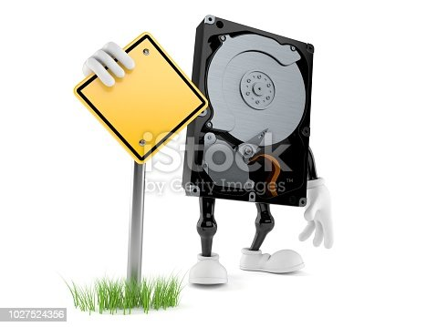 Hard disk drive character with blank road sign isolated on white background. 3d illustration