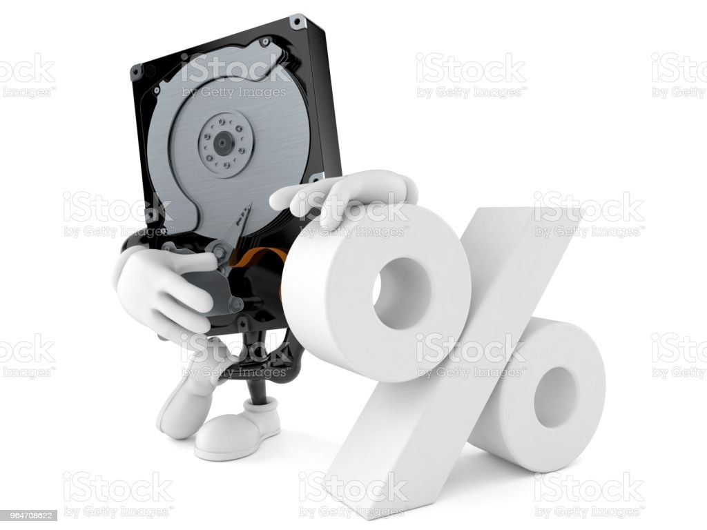Hard disk drive character with percent symbol royalty-free stock photo