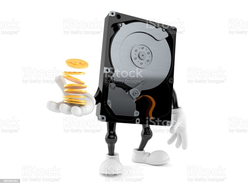 Hard disk drive character with stack of coins zbiór zdjęć royalty-free