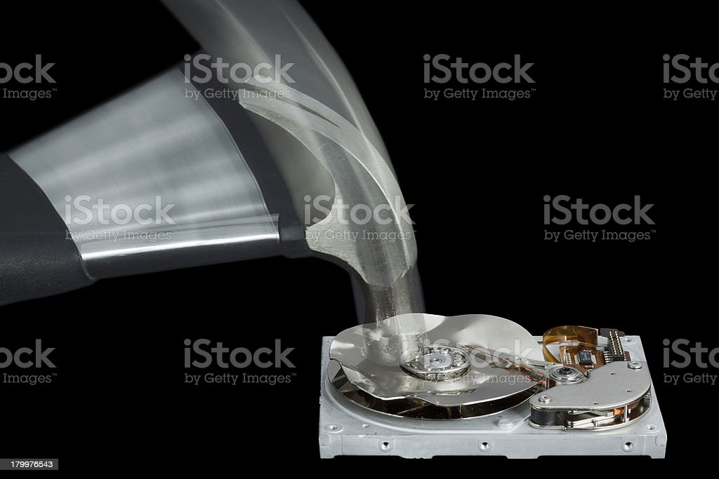 Hard Disk Drive Destroyed with a Hammer royalty-free stock photo
