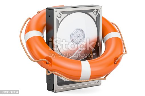 istock Hard Disk Drive HDD with  lifebuoy. Data safety and protection concept, 3D rendering isolated on white background 839836994
