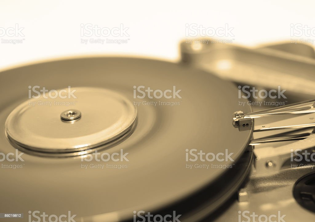 Hard disk drive in sepia royalty-free stock photo