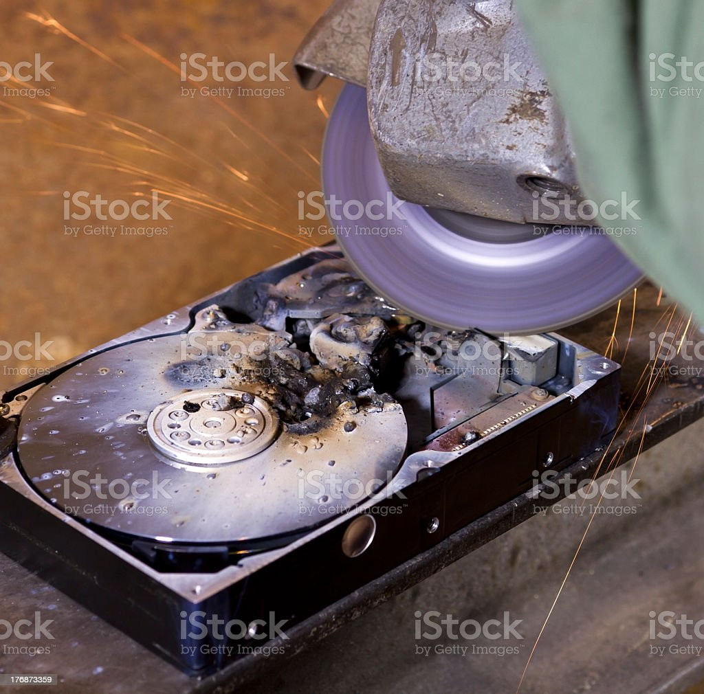 hard disk driveand angle grinder royalty-free stock photo