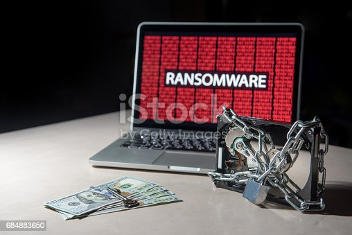 istock Hard disk file locked with monitor show ransomware cyber attack 684883650
