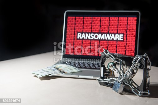 istock Hard disk file locked with monitor show ransomware cyber attack 691554674