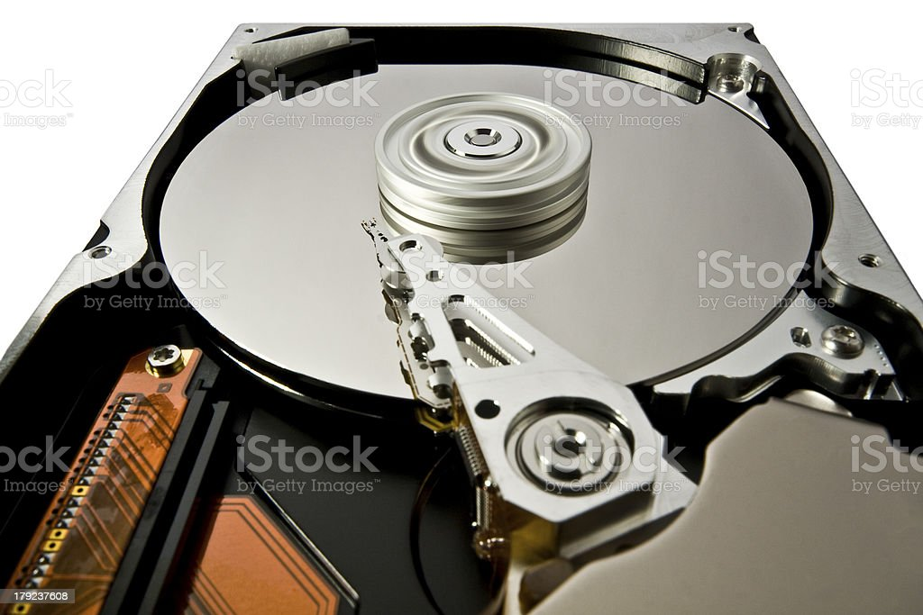 hard disk with rotating platter royalty-free stock photo