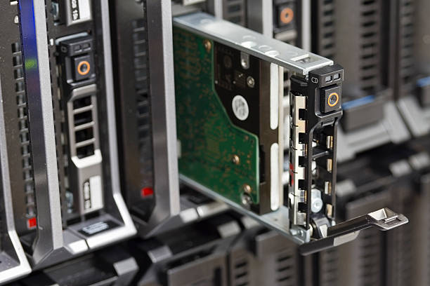 Hard Drive in Blade Server stock photo