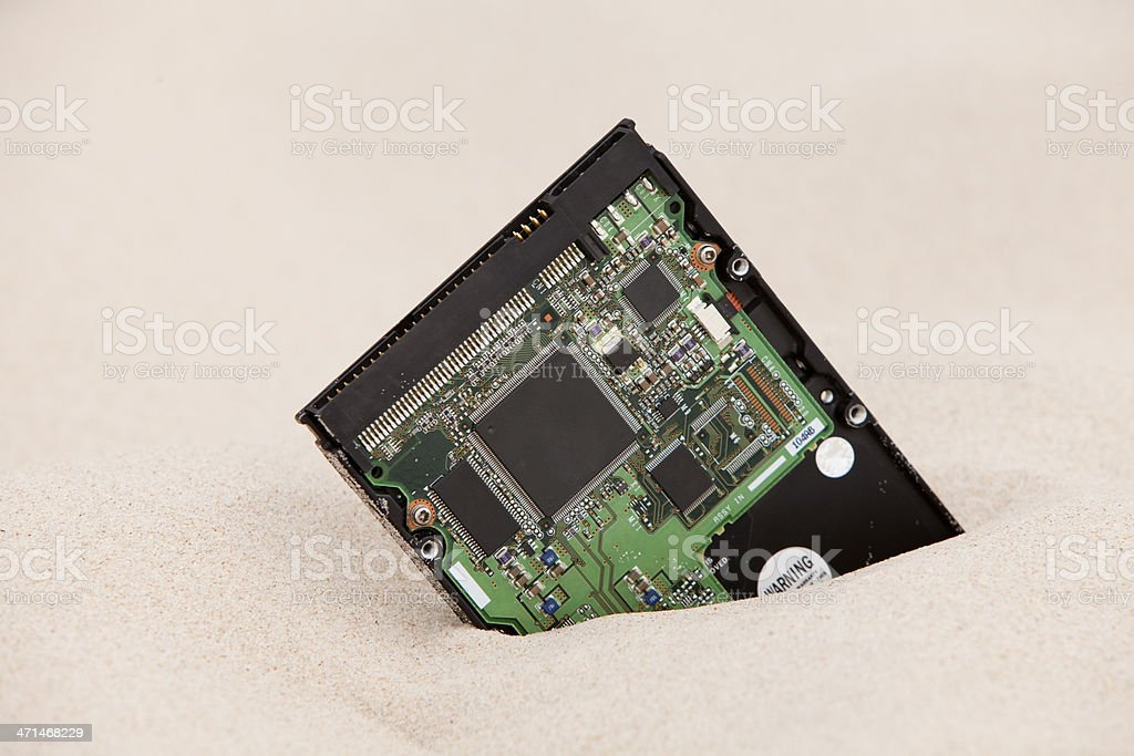 hard drive in the sand stock photo