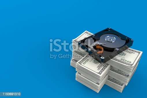 Hard drive on stack of money isolated on blue background. 3d illustration