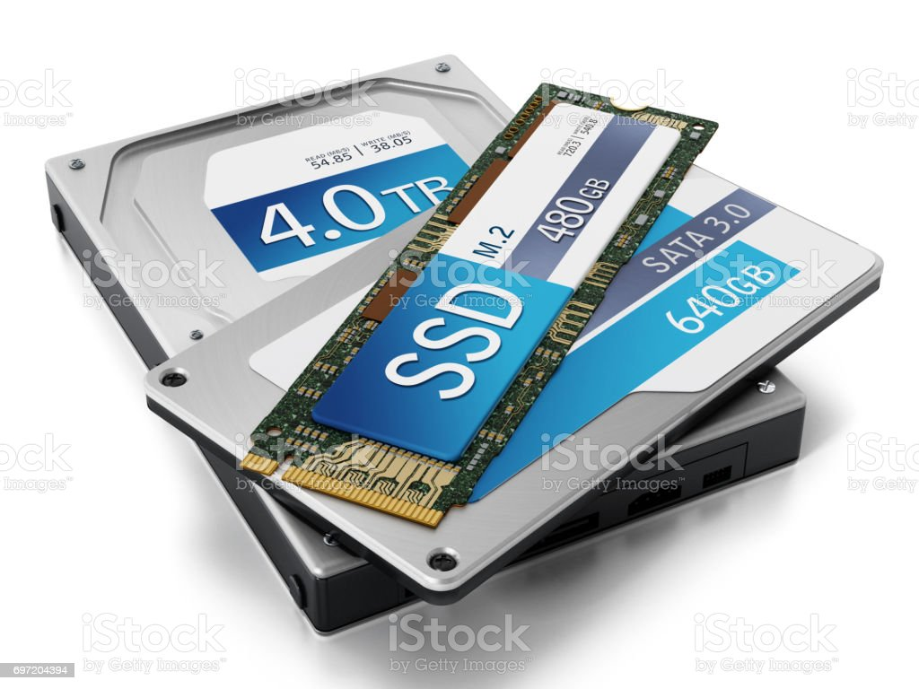 Hard drive, solid state disk and M.2 SSD isolated on white stock photo