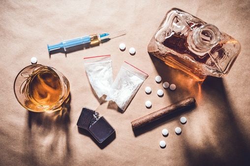 istock Hard drugs and alcohol. 817839096