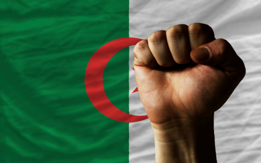 complete national flag of algeria covers whole frame, waved, crunched and very natural looking. In front plan is clenched fist symbolizing determination