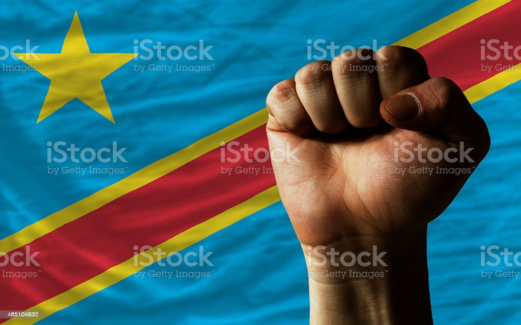 Hard fist in front of congo flag stock photo