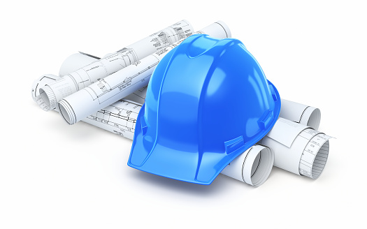 3d render Blue Hard hat and blueprint (isolated on white and clipping path)