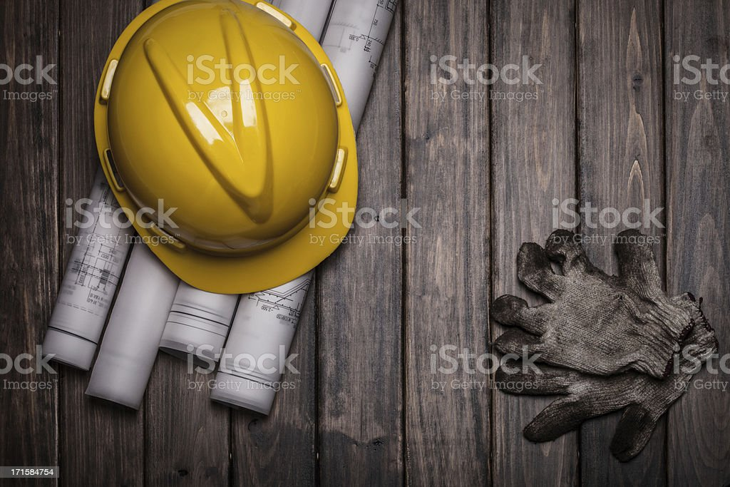 hard hat and blue print royalty-free stock photo