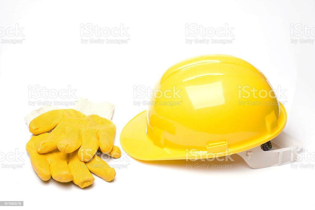 Hard Hat And Protective Work Gloves royalty-free stock photo