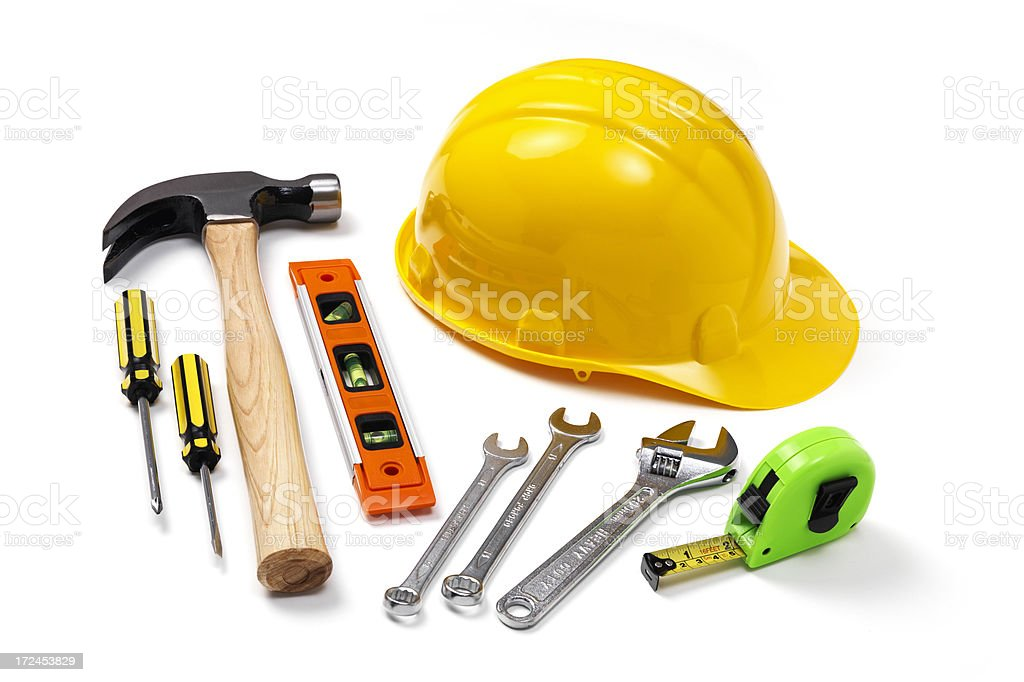 Hard Hat with Hammer and construction tools royalty-free stock photo