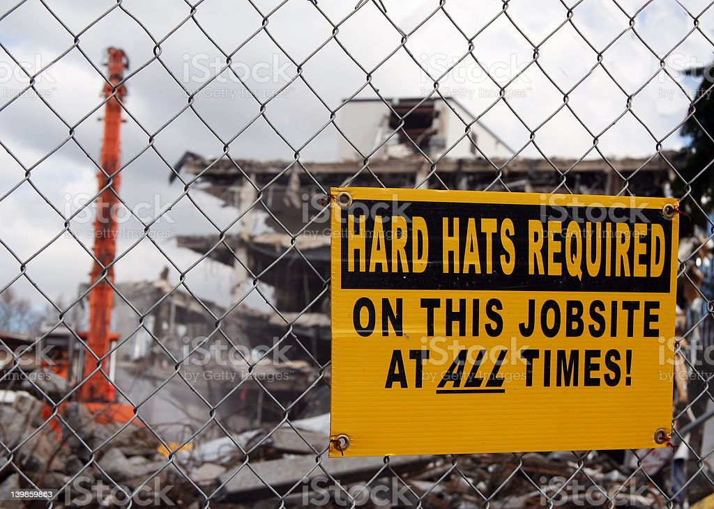 'Hard hats required' stock photo