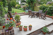 istock Hard landscaping, new luxury patio and garden, UK 1221067826