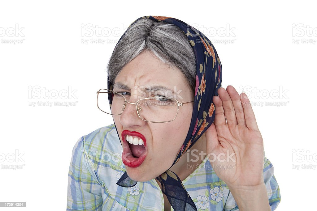 Hard of Hearing Old Woman royalty-free stock photo