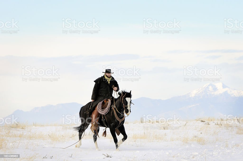 Hard Riding Cowboy In Action On Snowy Desert Landscape stock photo
