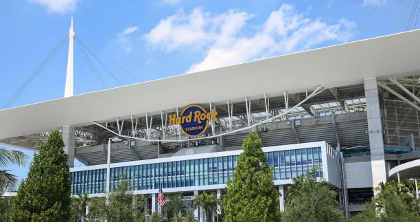 Hard Rock Stadium sign stock photo