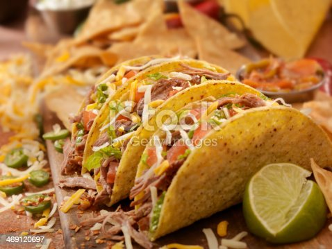 Hard Tacos With Shredded Beef, Lettuce, Tomato, Onions and Cheese - Photographed on Hasselblad H3D2-39mb Camera