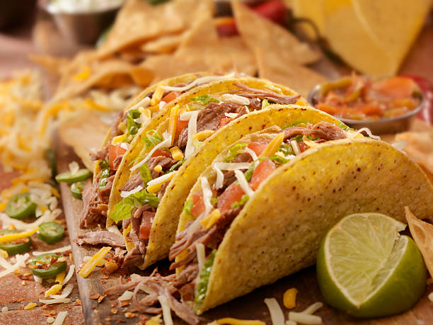 Hard Shredded Beef Tacos stock photo