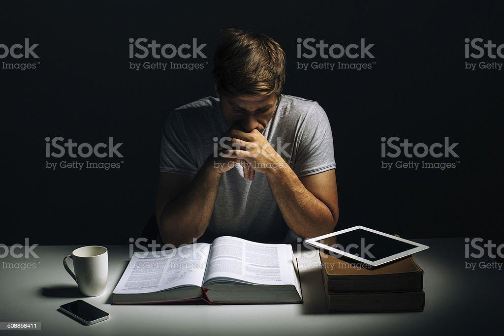 Hard studying stock photo