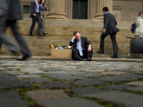 mature businessman finds himself unemployed