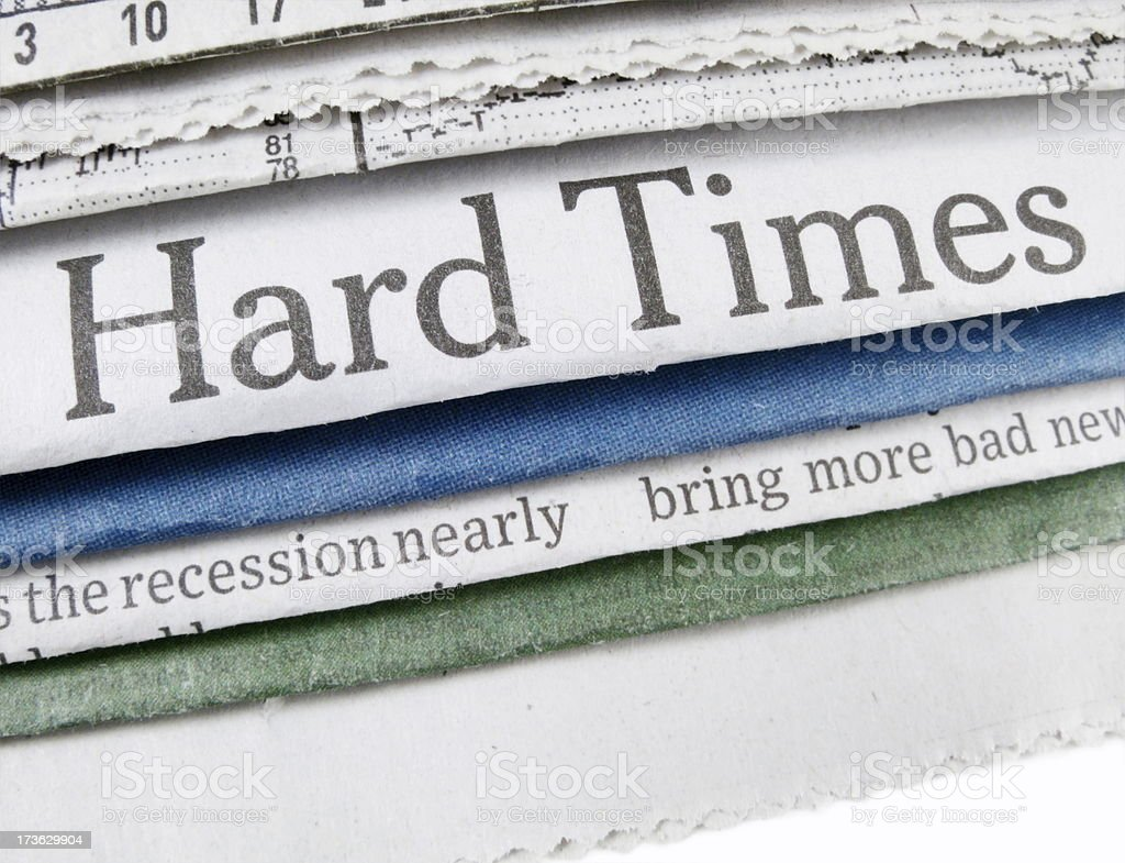 Hard Times Headlines royalty-free stock photo