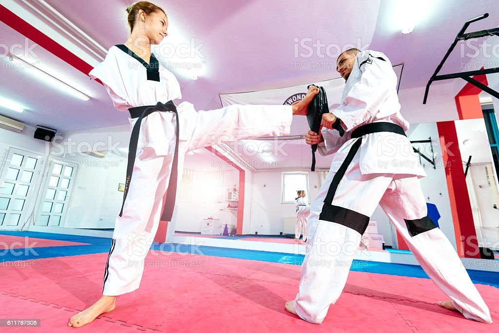 Hard training for amputee female athlete stock photo