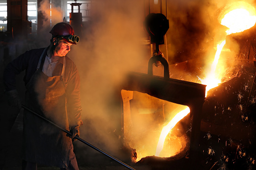 Hard Work In The Foundry Stock Photo - Download Image Now