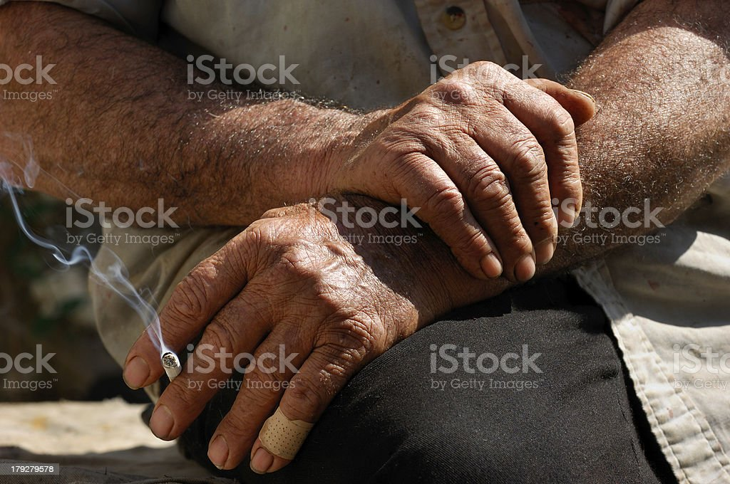 Hard worked hands royalty-free stock photo