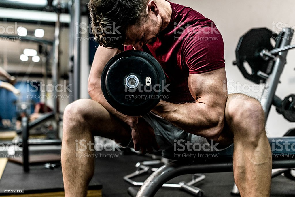 Hard workout in gym stock photo