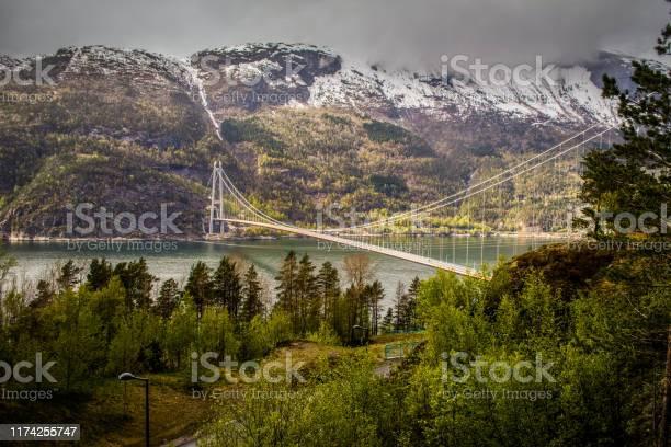 Hardangerbrua Oder Hardanger Brücke Hängebrücke Über Den Eidfjordzweig Des Hardangerfjords In Hordaland County Norwegen Verbinden Von Ullensvang Und Ulvik Stockfoto und mehr Bilder von Baum