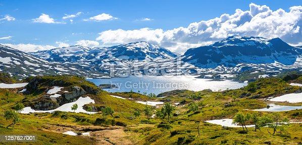 The landscape of Hardangervidda National Park in Norway