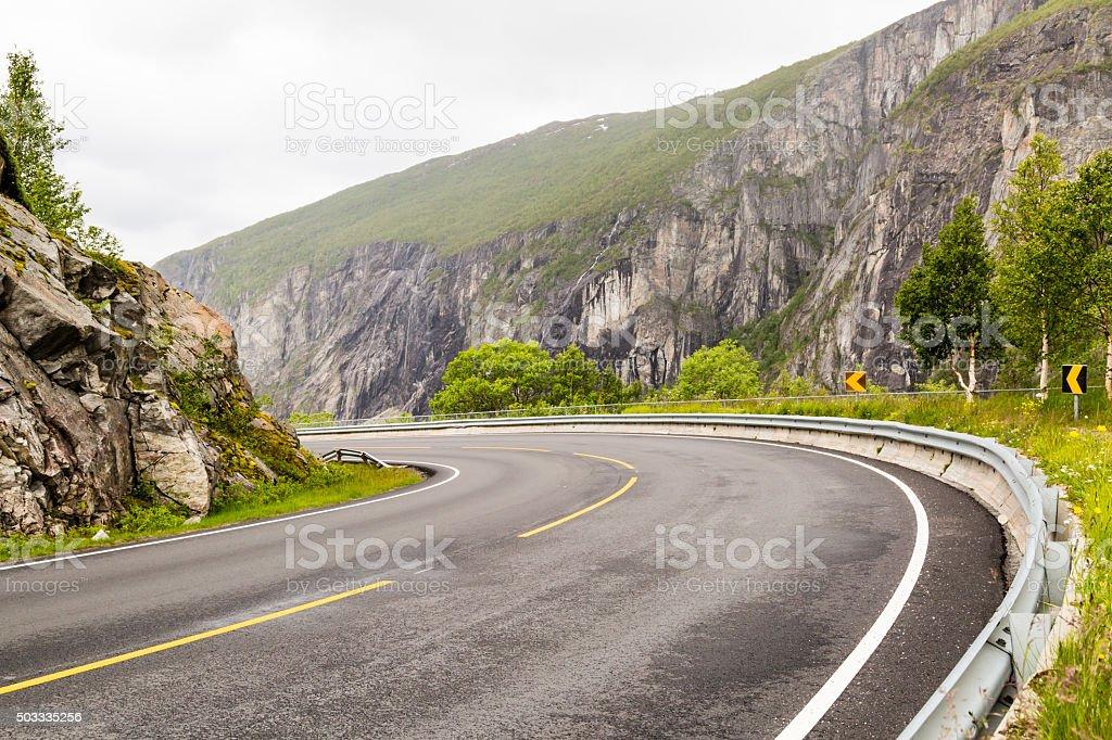 Hardangervidda road in Norway stock photo