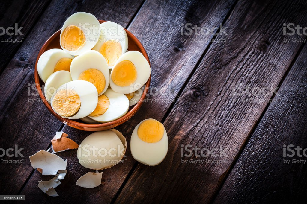 Hard-boiled eggs stock photo