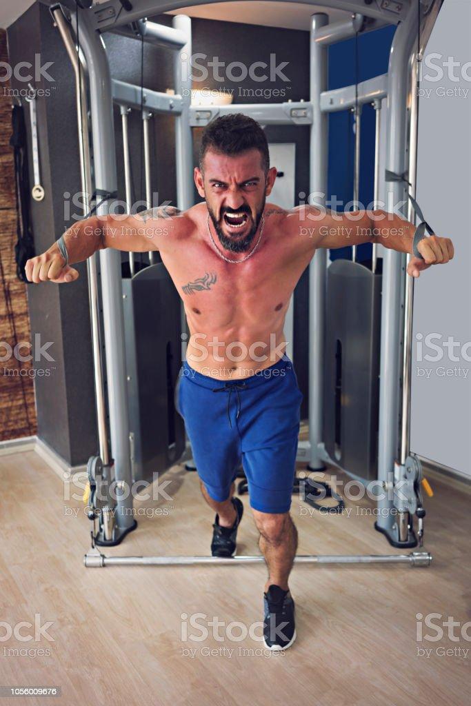 Hardcore vücut geliştirme egzersiz jimnastik salonu stok fotoğrafı