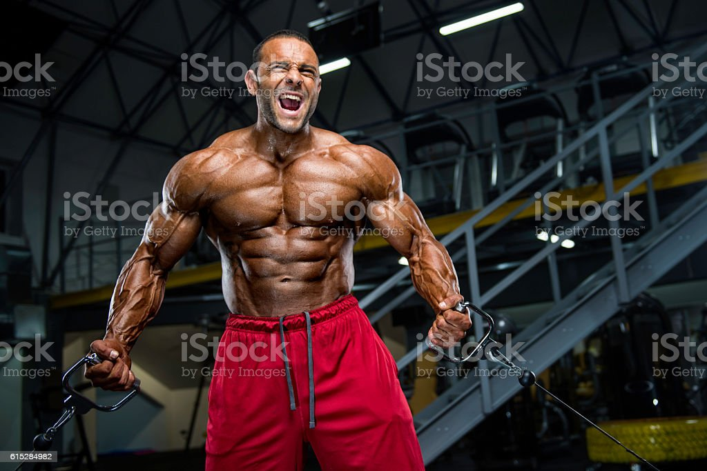 Hardcore Body Building Workout stock photo