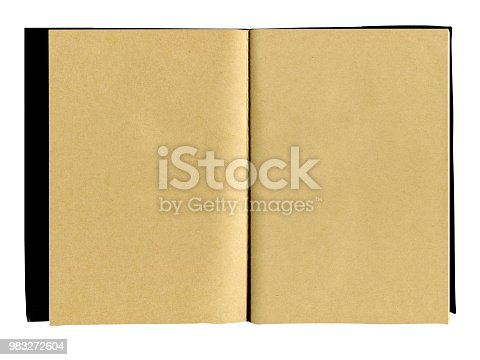 891131294istockphoto Hardcover kraft notebook isolated on white background 983272604