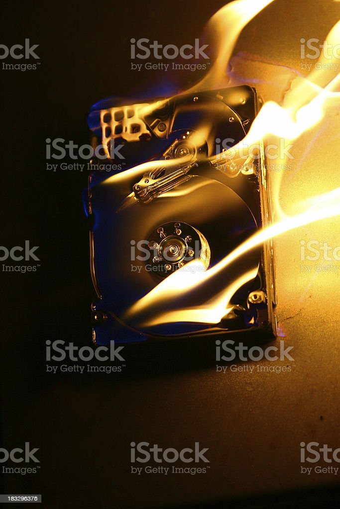 HardDrive on Fire 1 royalty-free stock photo