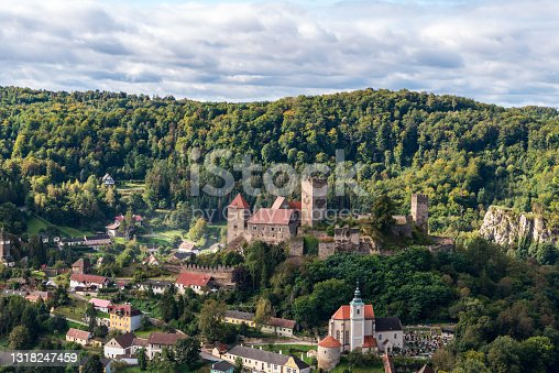 istock Hardegg town with castle ruins and church in Austria from Hardeggska vyhlidka view point in Podyji National park in Czech republic 1318247459