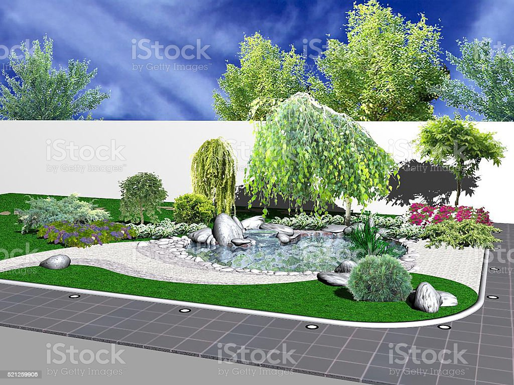 Hardscapes And Koi Pond 3d Rendering Stock Photo Download