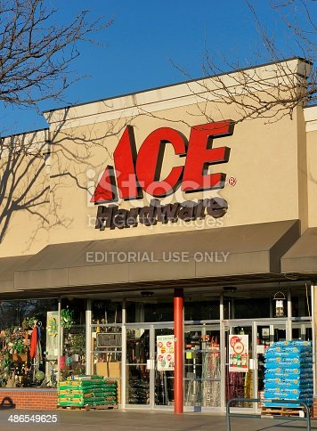 Fort Collins, Colorado, USA - April 20, 2014: The ACE Hardware store in downtown Fort Collins, Colorado. Founded in 1924, ACE is a chain of hardware stores with over 4000 locations.
