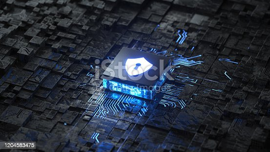 circuit board and shield icon,Hardware security, computer data protection and electronic technology concept,