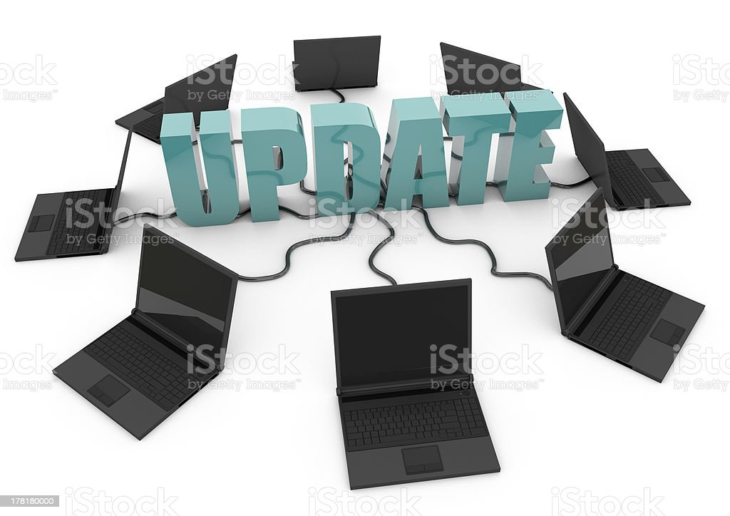 hardware software update with laptops connected to the internet royalty-free stock photo